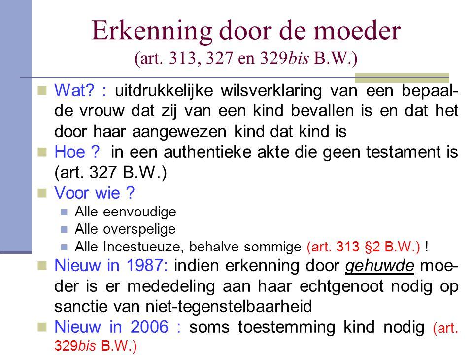 Erkenning door de moeder (art. 313, 327 en 329bis B.W.)