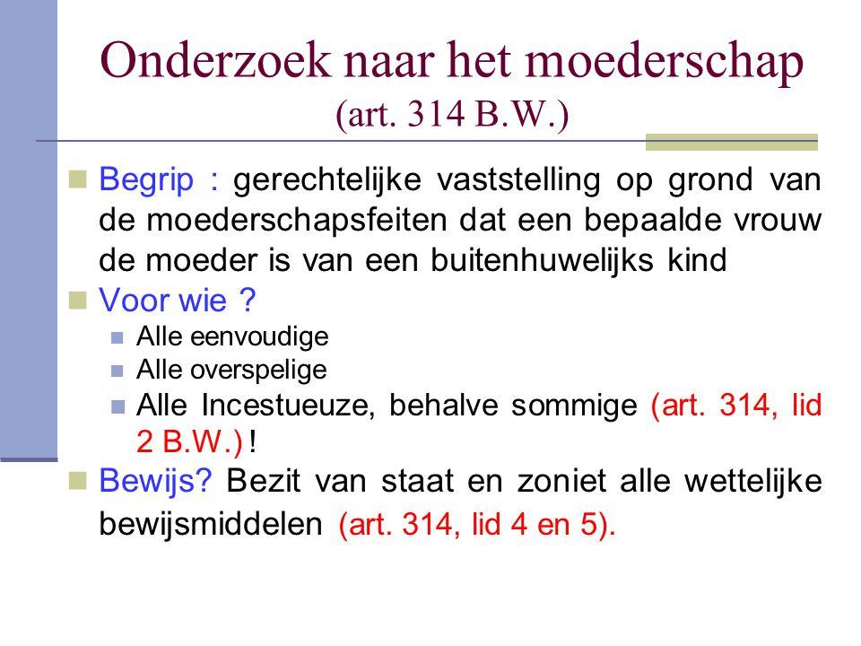 Onderzoek naar het moederschap (art. 314 B.W.)
