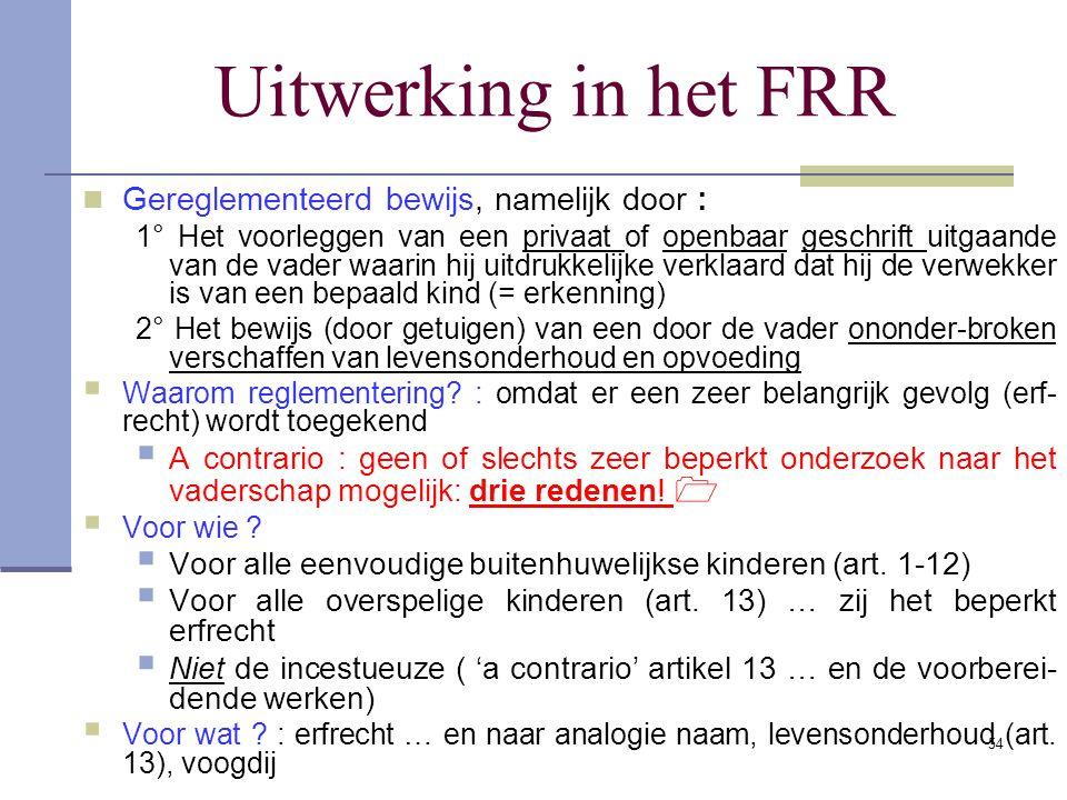 Uitwerking in het FRR Gereglementeerd bewijs, namelijk door :