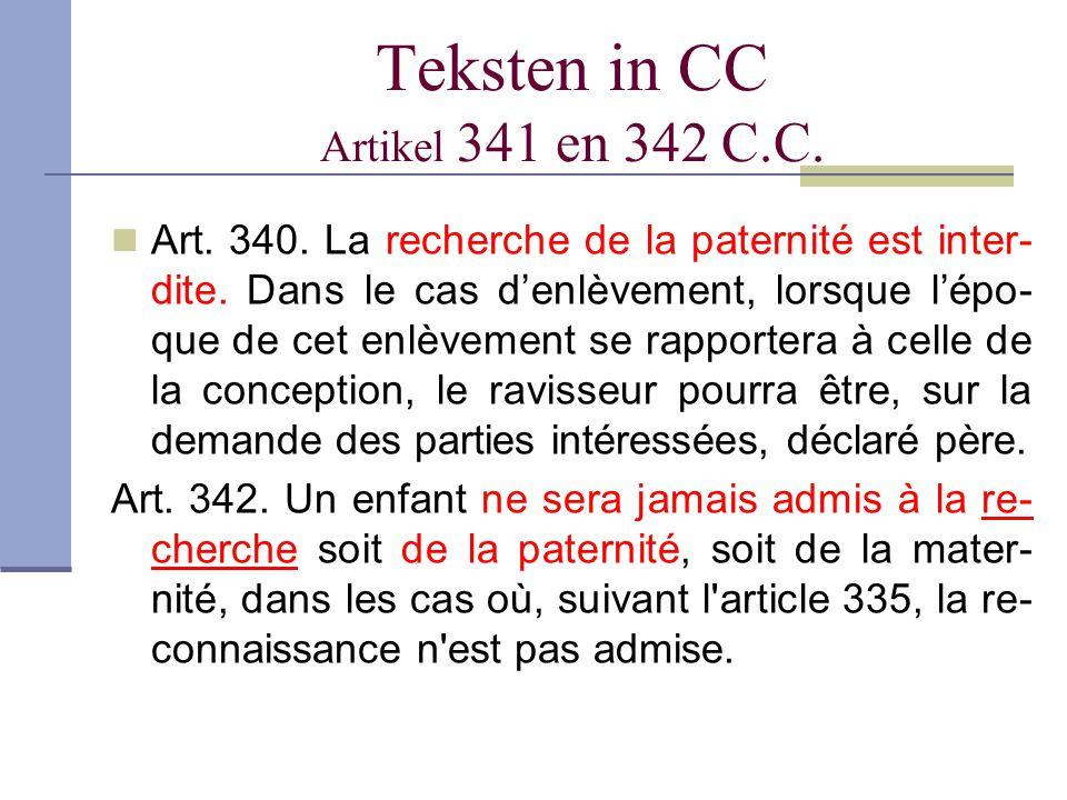 Teksten in CC Artikel 341 en 342 C.C.