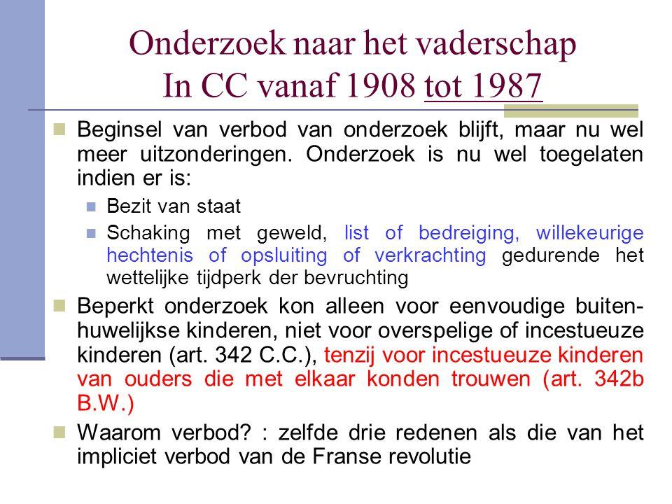 Onderzoek naar het vaderschap In CC vanaf 1908 tot 1987