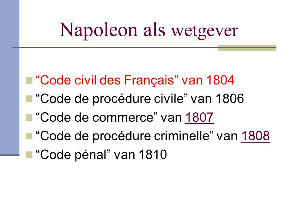 Napoleon als wetgever Code civil des Français van 1804