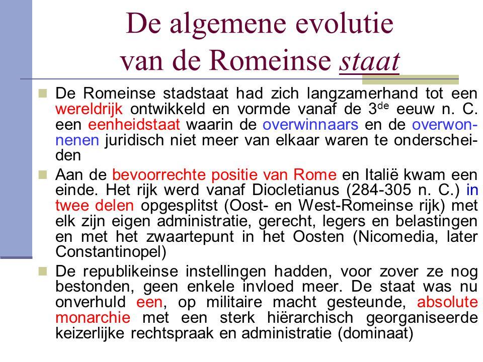 De algemene evolutie van de Romeinse staat