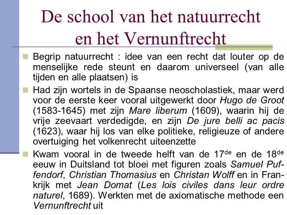 De school van het natuurrecht en het Vernunftrecht