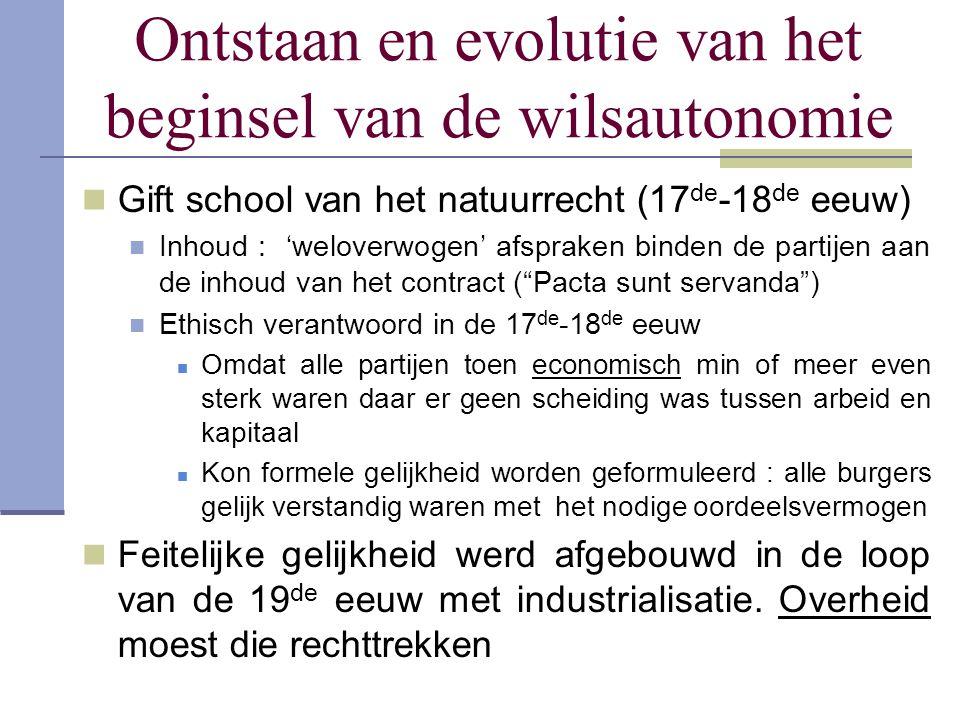 Ontstaan en evolutie van het beginsel van de wilsautonomie