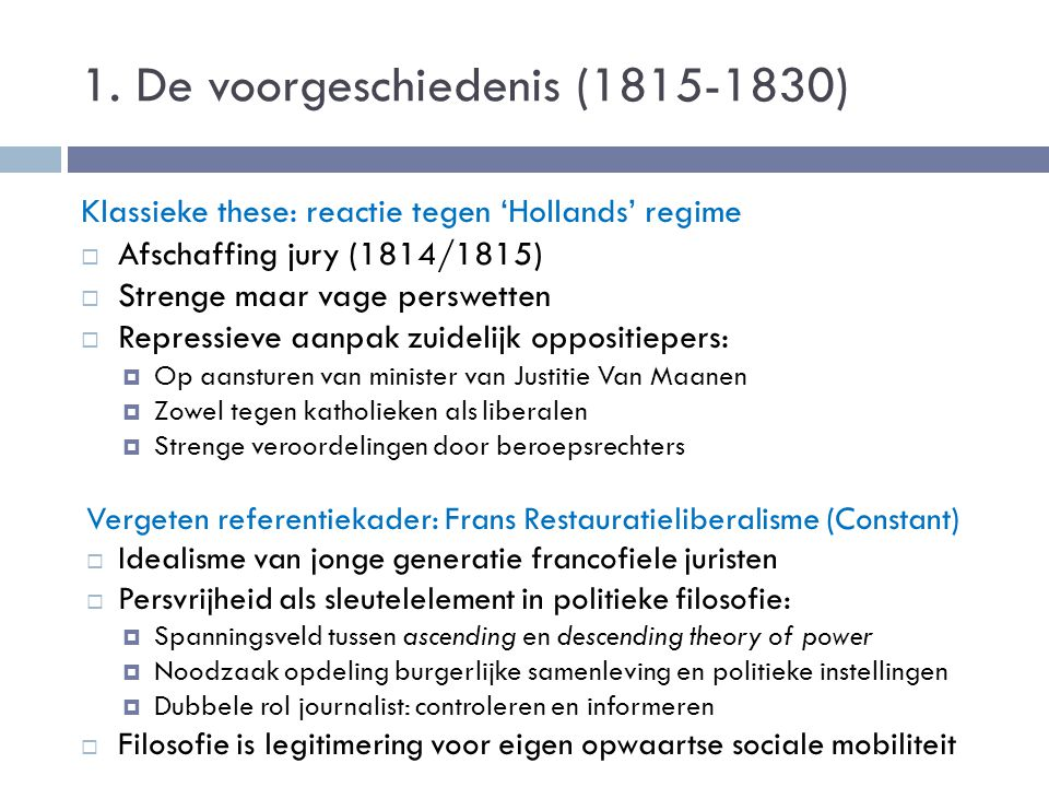 1. De voorgeschiedenis (1815-1830)