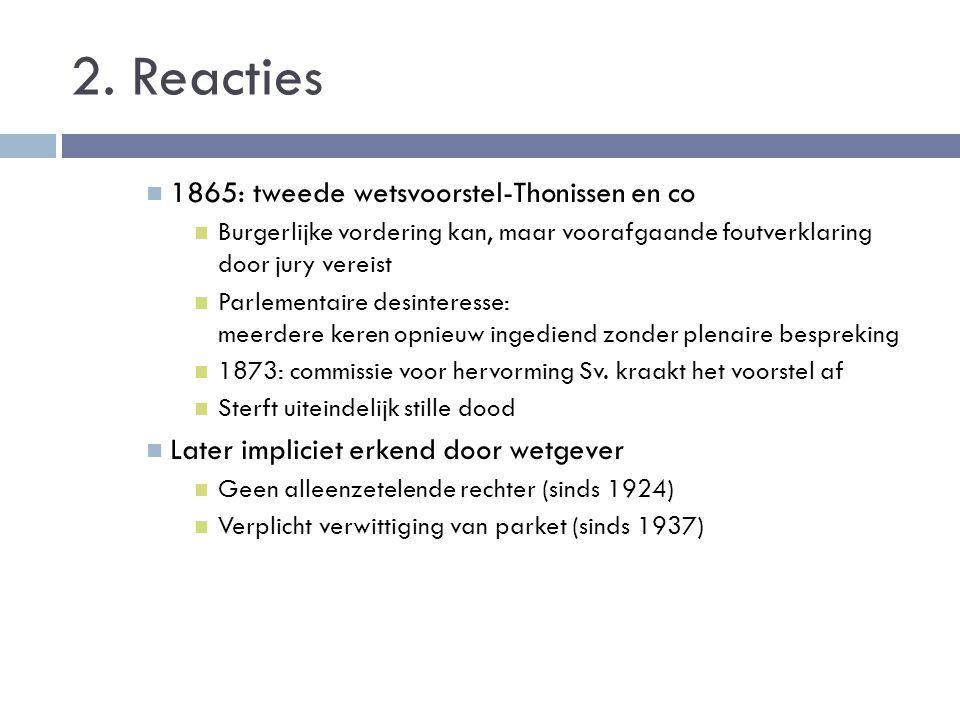 2. Reacties 1865: tweede wetsvoorstel-Thonissen en co