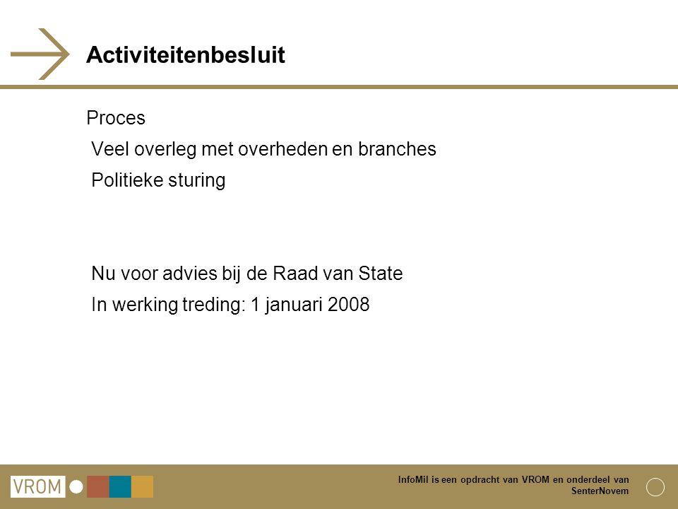 Activiteitenbesluit Proces Veel overleg met overheden en branches