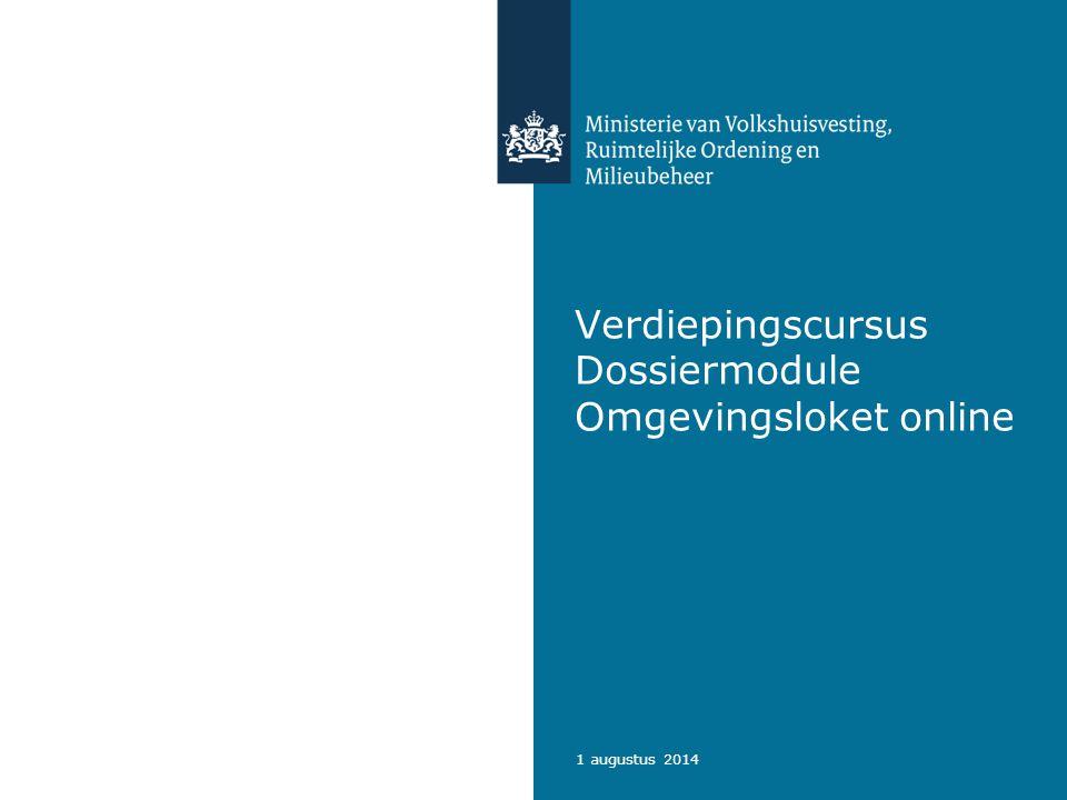 Verdiepingscursus Dossiermodule Omgevingsloket online
