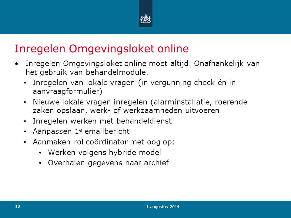 Inregelen Omgevingsloket online