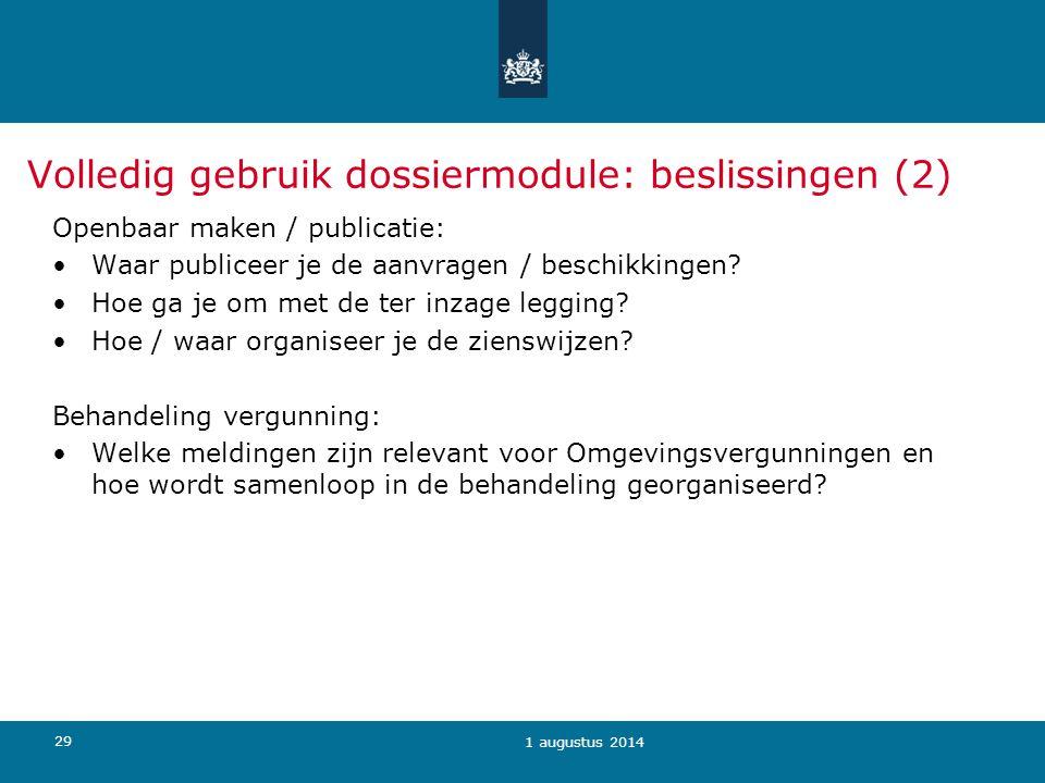Volledig gebruik dossiermodule: beslissingen (2)