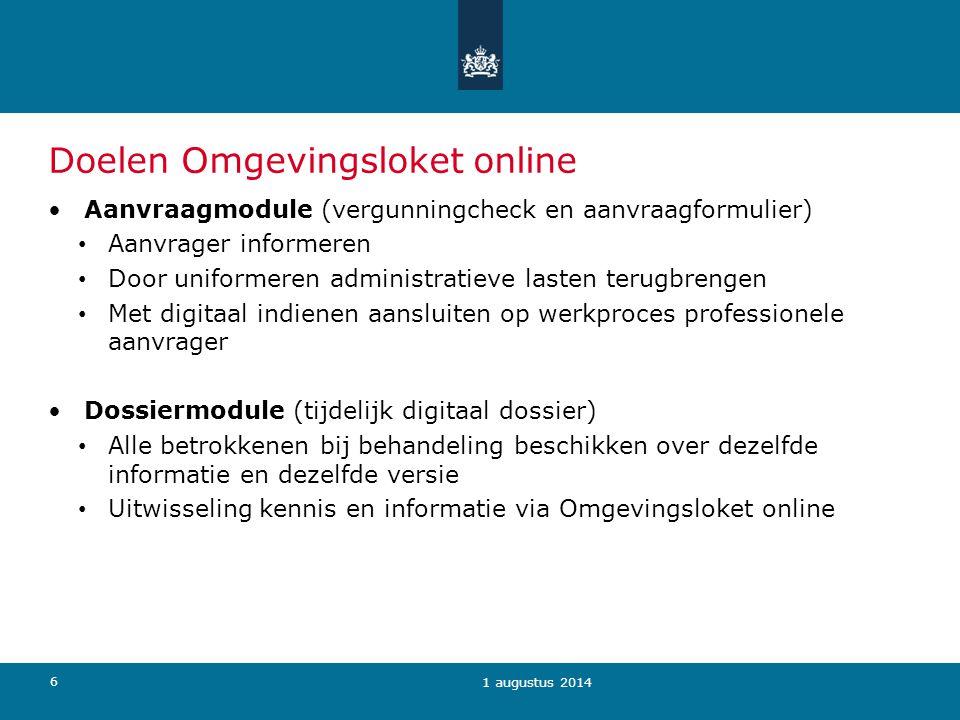 Doelen Omgevingsloket online