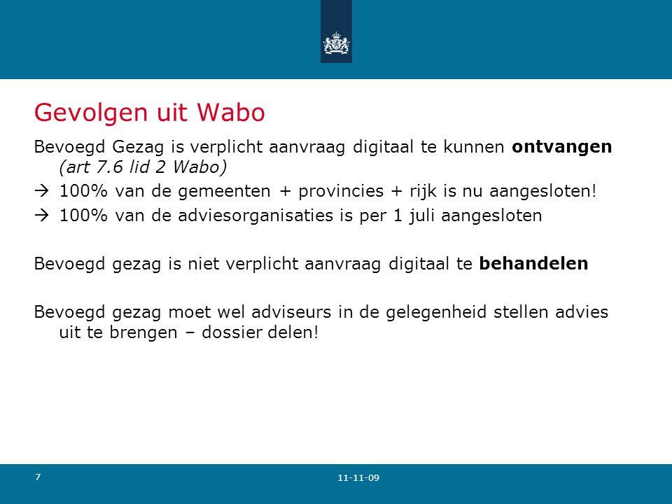 Gevolgen uit Wabo Bevoegd Gezag is verplicht aanvraag digitaal te kunnen ontvangen (art 7.6 lid 2 Wabo)