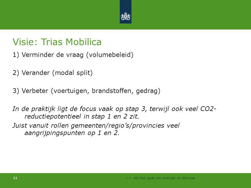 Visie: Trias Mobilica 1) Verminder de vraag (volumebeleid)