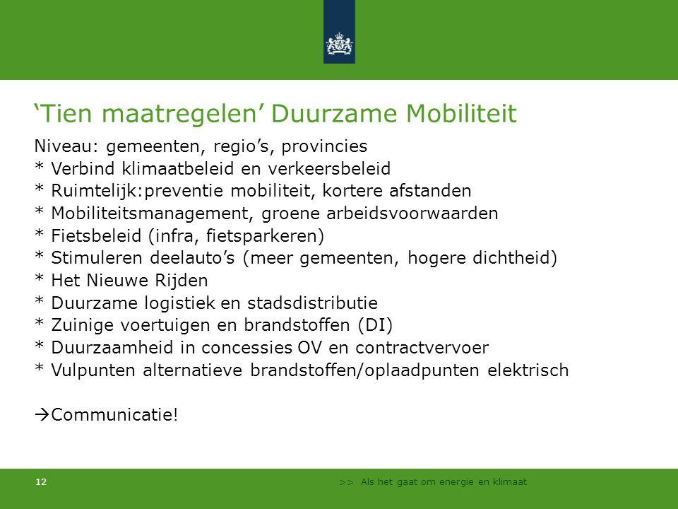 'Tien maatregelen' Duurzame Mobiliteit