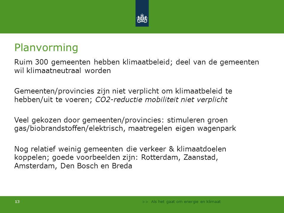 Planvorming Ruim 300 gemeenten hebben klimaatbeleid; deel van de gemeenten wil klimaatneutraal worden.