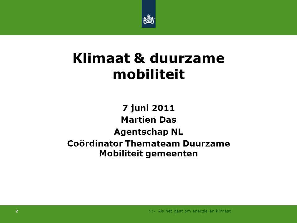Klimaat & duurzame mobiliteit