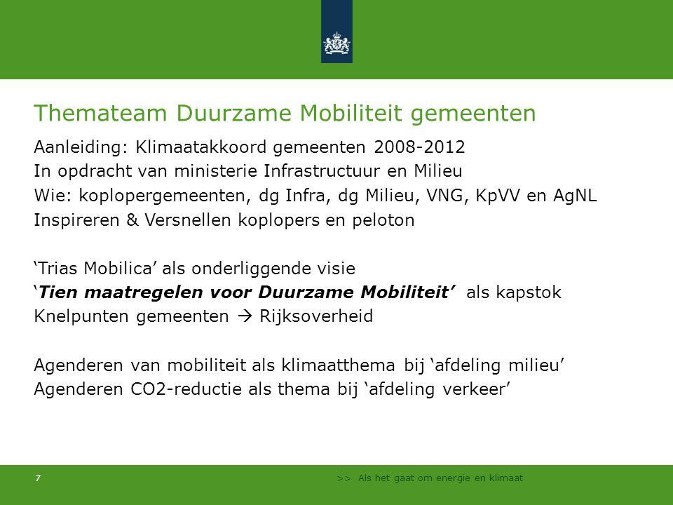 Themateam Duurzame Mobiliteit gemeenten