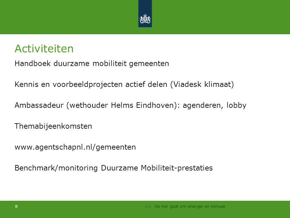 Activiteiten Handboek duurzame mobiliteit gemeenten