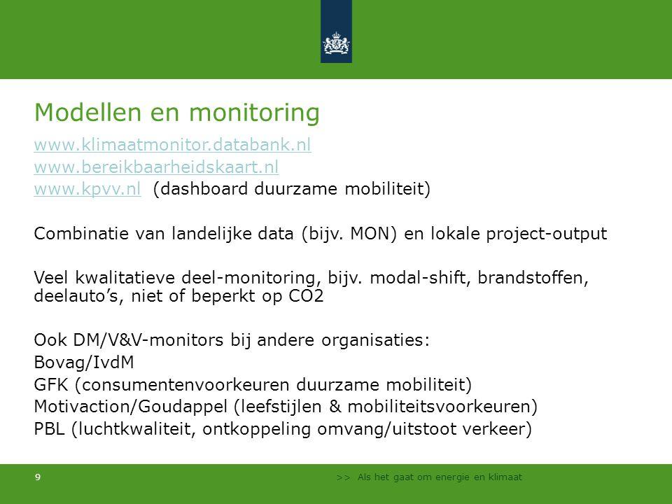 Modellen en monitoring