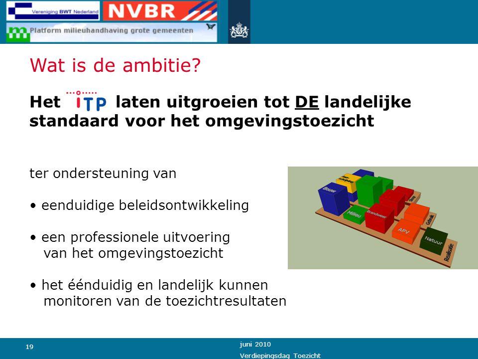 Wat is de ambitie Het laten uitgroeien tot DE landelijke standaard voor het omgevingstoezicht.