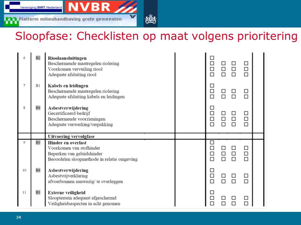 Sloopfase: Checklisten op maat volgens prioritering