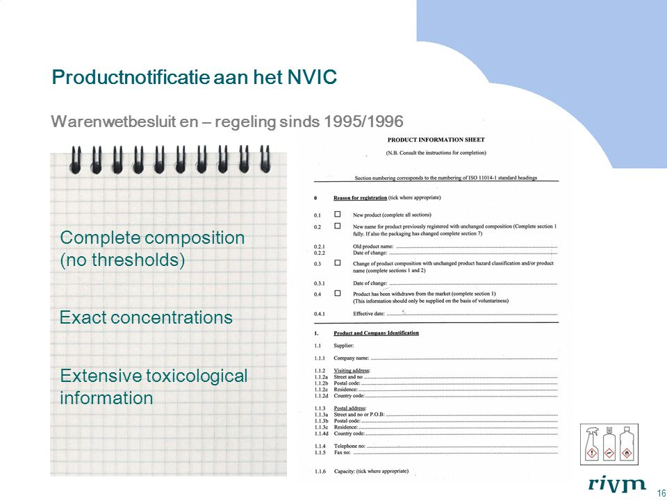 Productnotificatie aan het NVIC