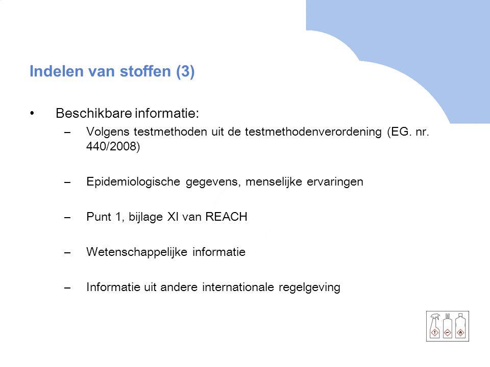 Indelen van stoffen (3) Beschikbare informatie: