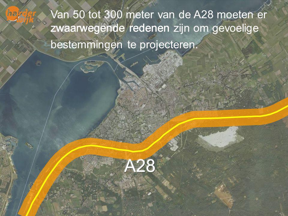 Van 50 tot 300 meter van de A28 moeten er zwaarwegende redenen zijn om gevoelige bestemmingen te projecteren.