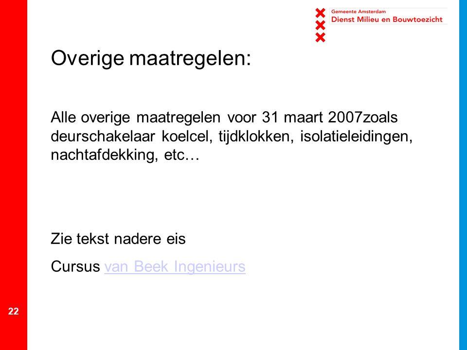 Overige maatregelen: Alle overige maatregelen voor 31 maart 2007zoals deurschakelaar koelcel, tijdklokken, isolatieleidingen, nachtafdekking, etc…