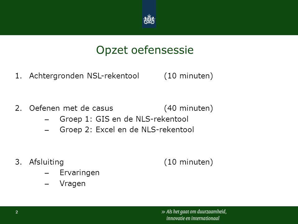 Opzet oefensessie 1. Achtergronden NSL-rekentool (10 minuten)
