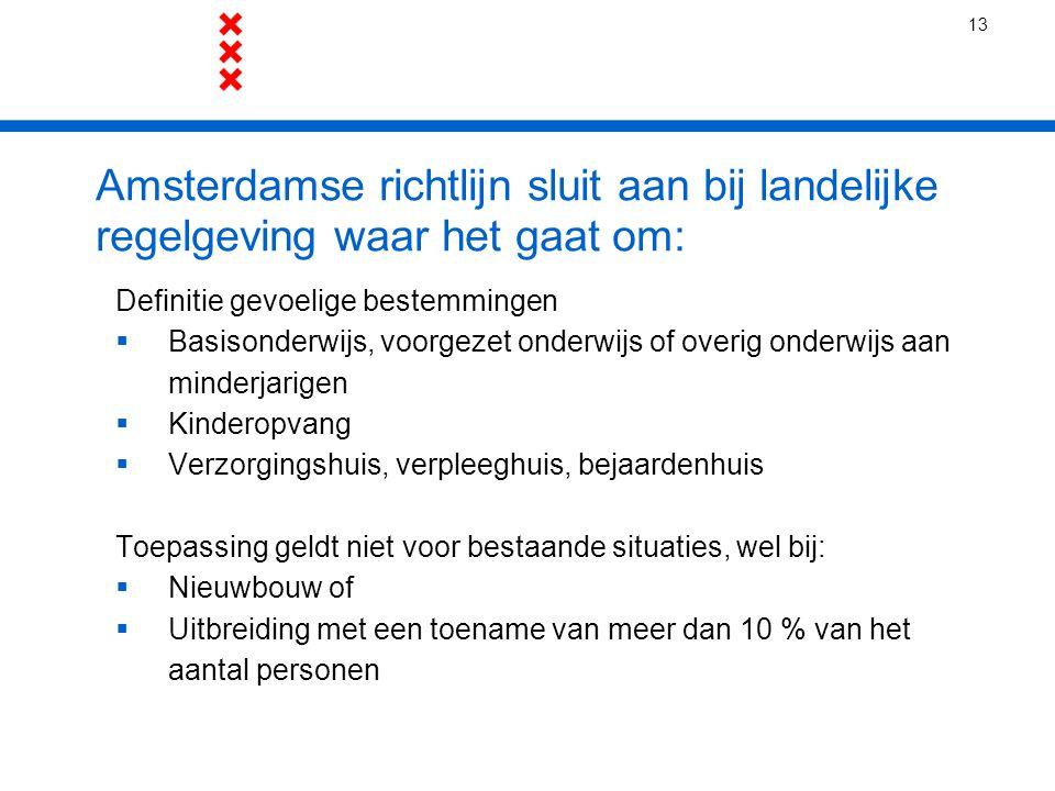 13 Amsterdamse richtlijn sluit aan bij landelijke regelgeving waar het gaat om: Definitie gevoelige bestemmingen.
