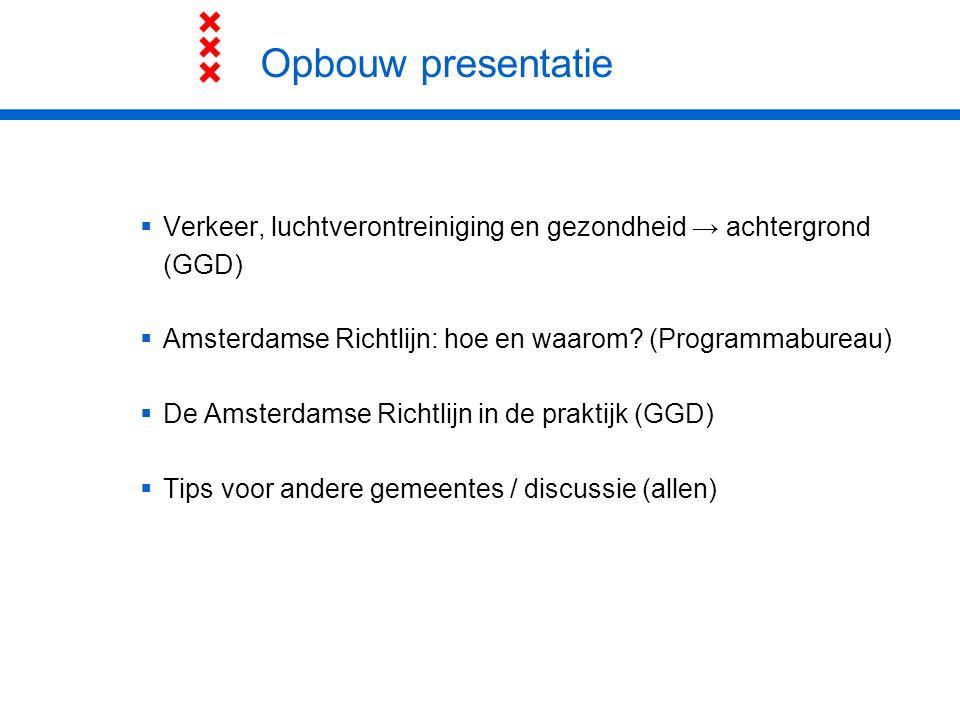 Opbouw presentatie Verkeer, luchtverontreiniging en gezondheid → achtergrond (GGD) Amsterdamse Richtlijn: hoe en waarom (Programmabureau)