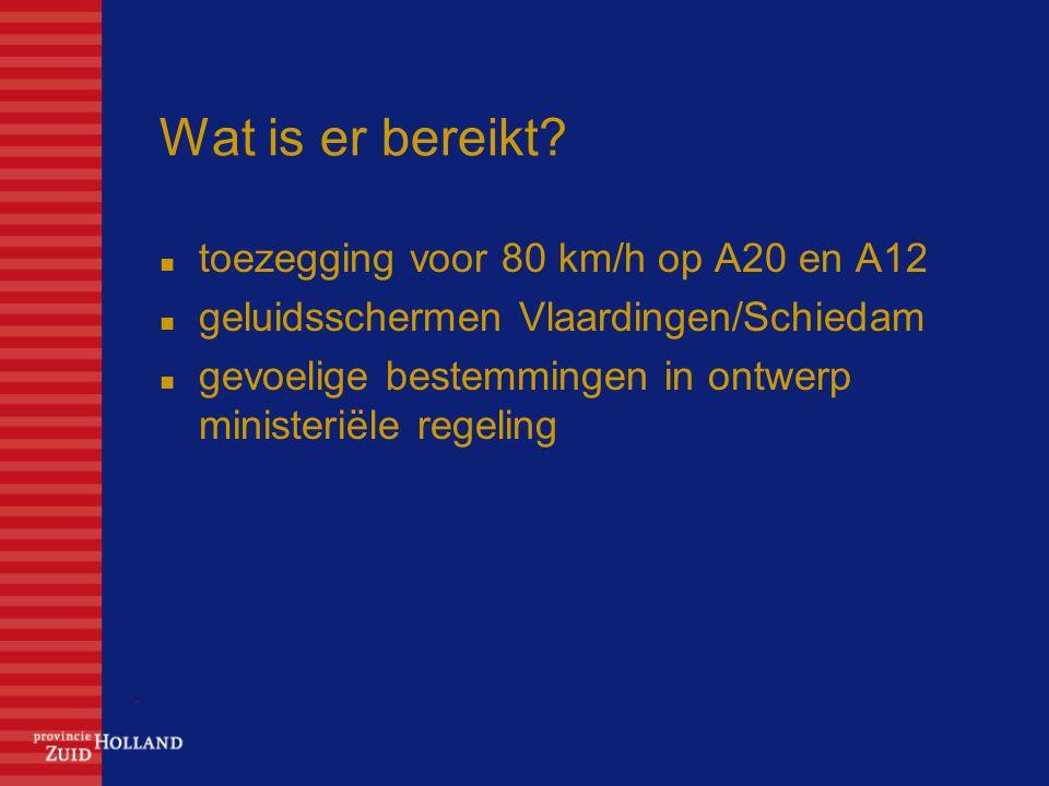 Wat is er bereikt toezegging voor 80 km/h op A20 en A12