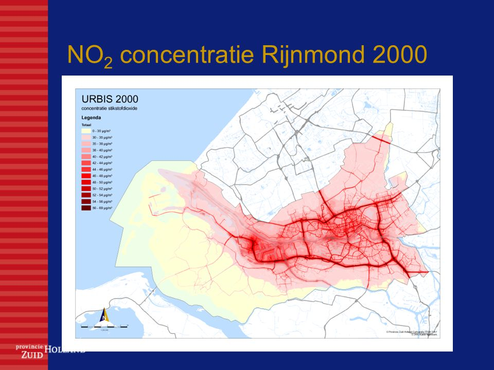 NO2 concentratie Rijnmond 2000