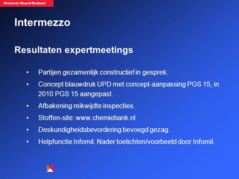 Intermezzo Resultaten expertmeetings