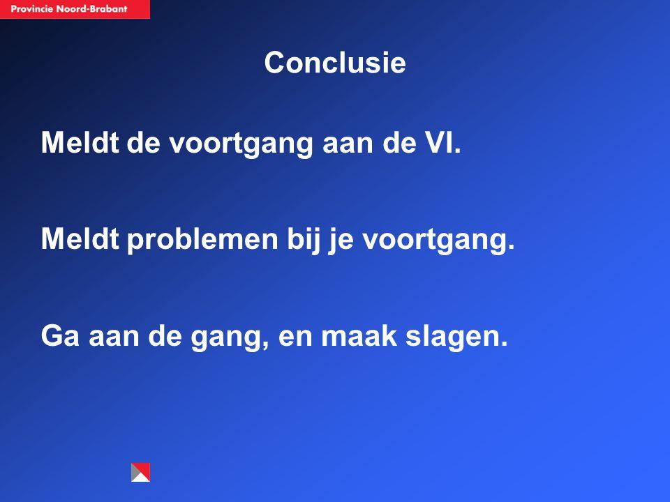 Conclusie Meldt de voortgang aan de VI. Meldt problemen bij je voortgang.