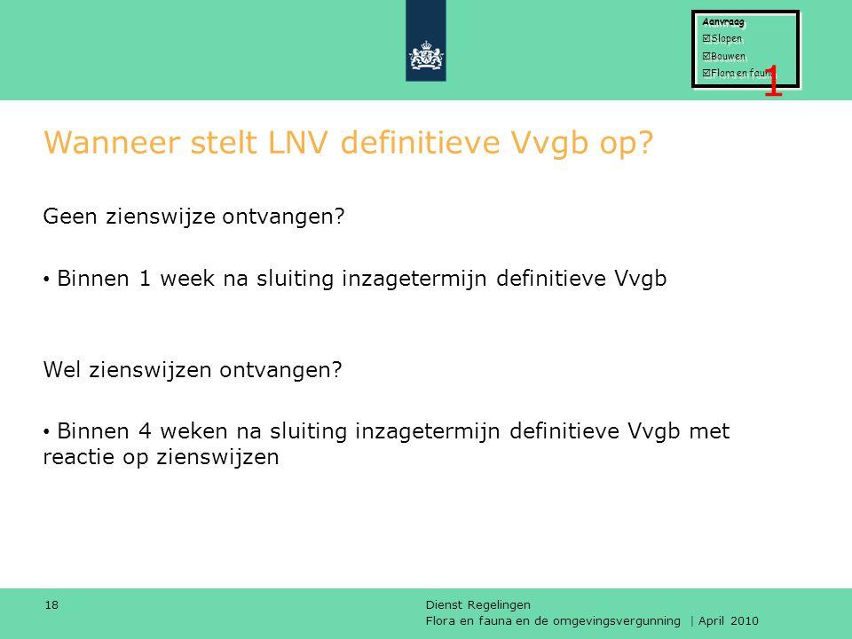 Wanneer stelt LNV definitieve Vvgb op