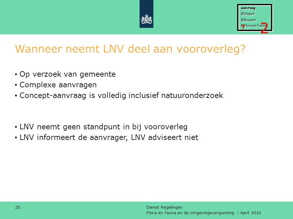 Wanneer neemt LNV deel aan vooroverleg