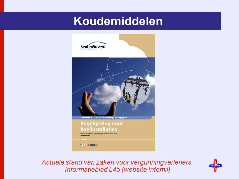 Koudemiddelen Actuele stand van zaken voor vergunningverleners: Informatieblad L45 (website Infomil)