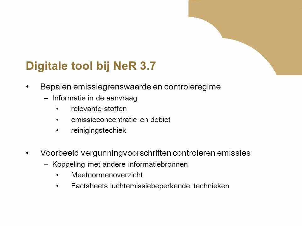 Digitale tool bij NeR 3.7 Bepalen emissiegrenswaarde en controleregime