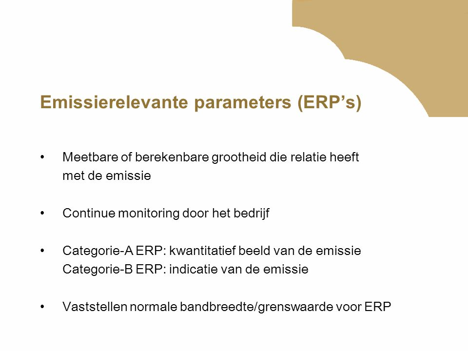 Emissierelevante parameters (ERP's)