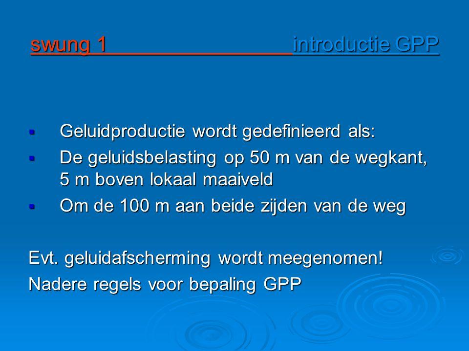 swung 1 introductie GPP Geluidproductie wordt gedefinieerd als: