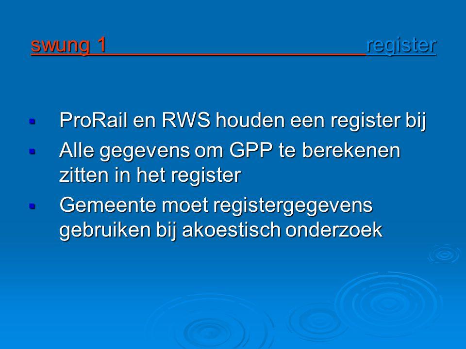swung 1 register ProRail en RWS houden een register bij.