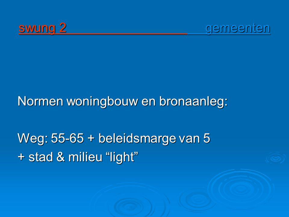 swung 2 gemeenten Normen woningbouw en bronaanleg: Weg: 55-65 + beleidsmarge van 5.