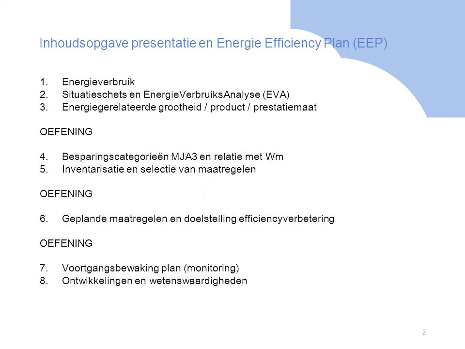 Inhoudsopgave presentatie en Energie Efficiency Plan (EEP)