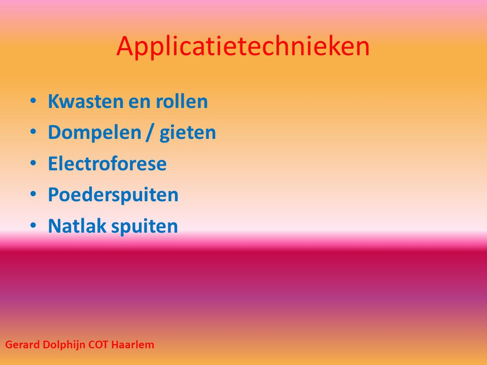 Applicatietechnieken