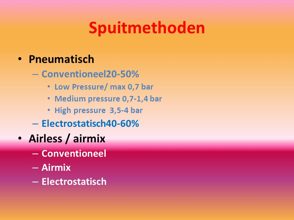 Spuitmethoden Pneumatisch Airless / airmix Conventioneel 20-50%