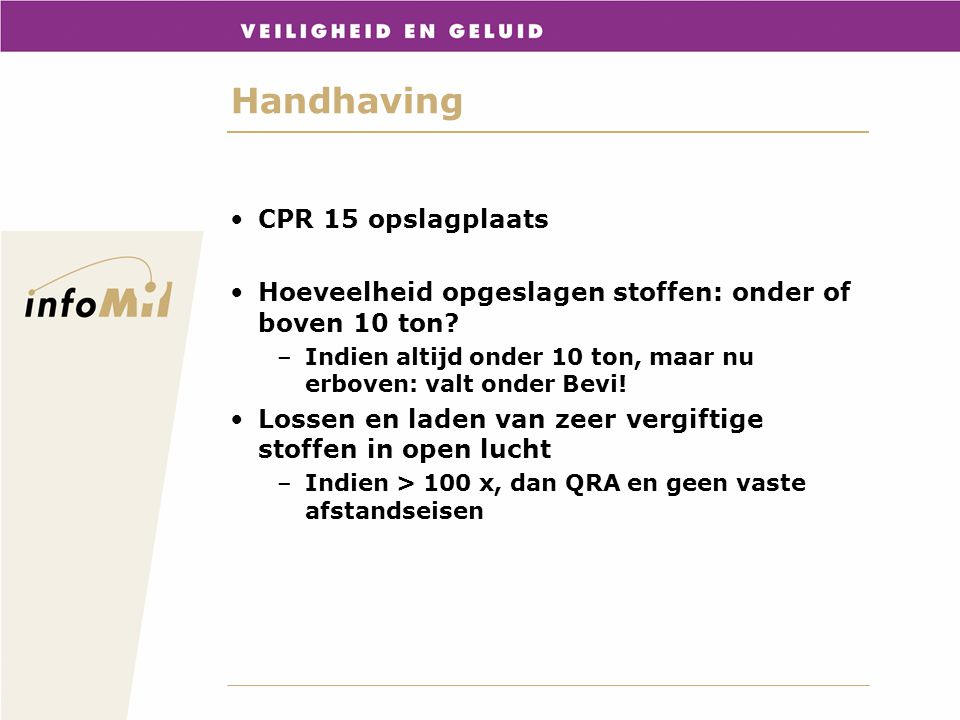 Handhaving CPR 15 opslagplaats