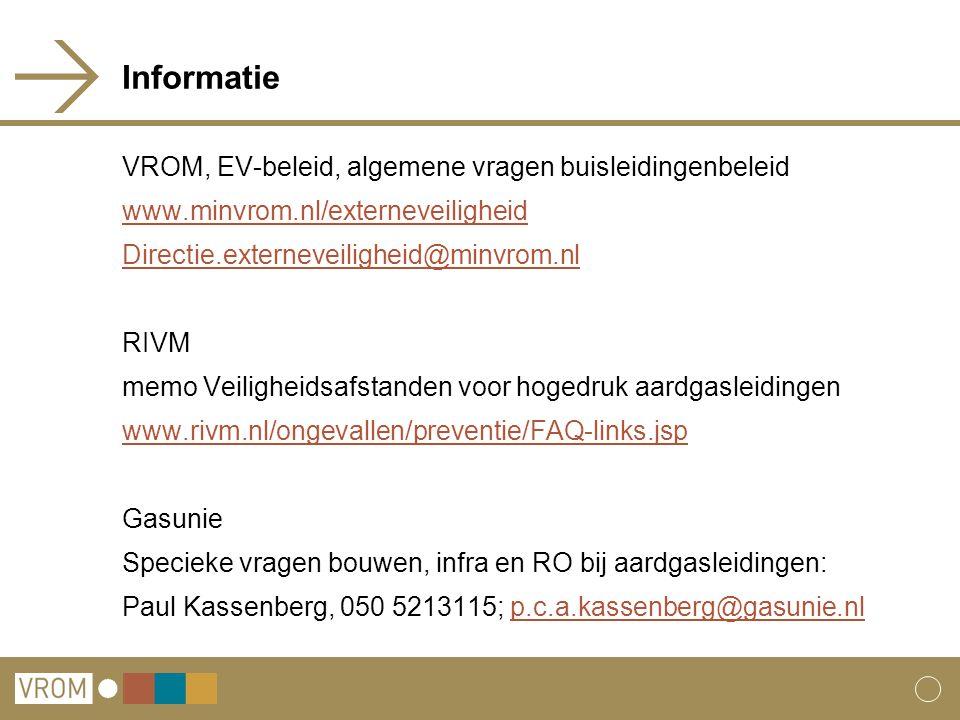 Informatie VROM, EV-beleid, algemene vragen buisleidingenbeleid